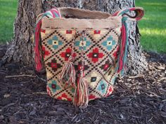 Handmade Large MultiColored Wayuu Mochila from by TheBuenaOnda, $150.00 #cotton #handmade #colombia #mochila #bag #purse #tote