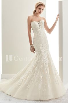 $222.09-Sexy Strapless Mermaid Lace Bridal Gown With Open Back and Brush Train. http://www.ucenterdress.com/strapless-mermaid-lace-bridal-gown-with-open-back-and-brush-train-pMK_704888.html.  Shop for Best wedding dresses, Lace wedding dress, modest wedding dress, strapless wedding dress, backless wedding dress, wedding dress with sleeves, mermaid wedding dress, plus size wedding dress, We have great 2016 fall Wedding Dresses on sale. Buy Wedding Dresses online at UCenterDress.com…