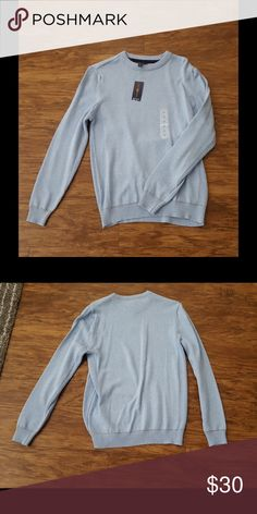 $22 W/ OFFER NWT Men's light blue sweater Men's Club Room Parisian blue sweater. Ribbed around the neckline, cuffs, hem, and down the sides. Parisian blue is slightly mixed with white and has tan stitching. 100% cotton. No trades. Club Room Sweaters Crewneck