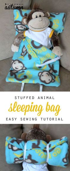 easy sewing tutorial for this adorable stuffed animal sleeping bag - my son would love this!