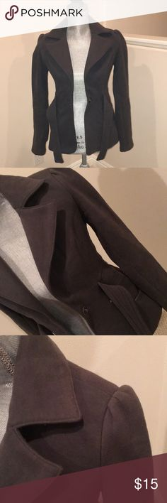 Forever 21 Gray Peacoat - S Cute Jacket!  Thick Fabric, Slightly Stretchy.  The Belt is Attached.  Cute Lining on the Inside.  Great for Work or Paired with Skinnies!  Bought @ Forever 21 in 2016. Forever 21 Jackets & Coats Pea Coats
