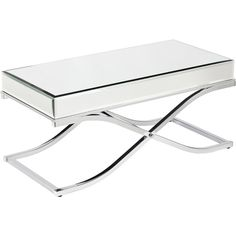 Upton Home Annabelle Chrome Mirrored Coffee/ Cocktail Table ($289) ❤ liked on Polyvore featuring home, furniture, tables, accent tables, silver, mirrored furniture, top table, chrome furniture, chrome accent table and rectangle coffee table