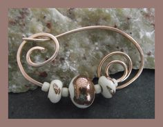 Bronze and Lampwork Fibula - Shawl Pin - Brooch £12.50