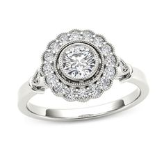 5/8 CT. T.W. Diamond Frame Vintage-Style Engagement Ring in 14K White Gold - Save on Select Styles - Zales