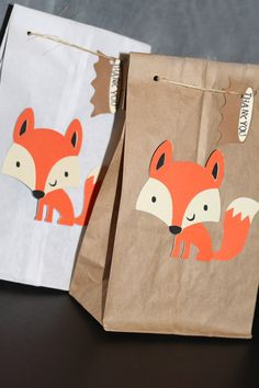 Fox Birthday Favor Bag. Treat Bag.  Woodland by MudPuddlesNRuffles, $14.00