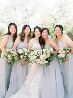 Blue gray wedding with organic florals Blue Bridesmaid Dresses, Wedding Dresses, Bridesmaids, Blue Grey Weddings, Bridesmaid Proposal, Style Me, Wedding Inspiration, Style Inspiration, Groom