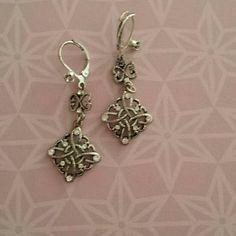 Drop Earrings Silvertone and rhinestone drop earrings. Purchased from NY & Co. New York & Company Jewelry Earrings