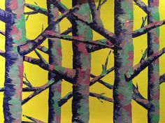 Lime sky forest painting by Anna Gibbs