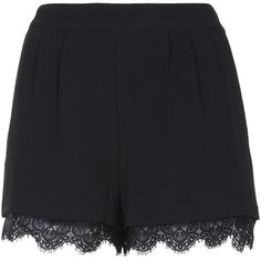 TOPSHOP Lace Trim Shorts ($30) ❤ liked on Polyvore featuring shorts, bottoms, short, skirts, black, lace-trim shorts, topshop shorts, topshop, black shorts and black short shorts