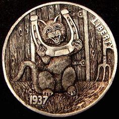 HOWARD THOMAS HOBO NICKEL - YOUR GOOD LUCK MASCOT - 1937 BUFFALO NICKEL Hobo Nickel, Coin Art, Momento Mori, Old Coins, Art Forms, Metal Art, Sculpture Art, Buffalo, Liberty
