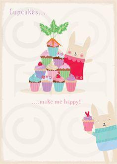 Bunny Art, Art For Children, Art for Kids, Girls Decor, Girls Room Art, Nursery art - Cupcakes Art Print by Emma Talbot