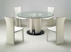 Deborah Dining Table with Glass Top and High Gloss Beige Base | DEBORAH-DT | Chintaly