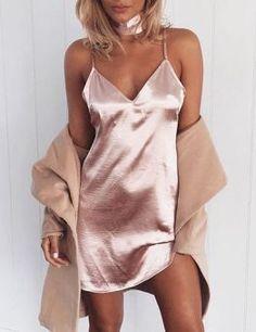 Silk Strappy Slip Dress