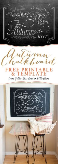 Autumn Chalkboard Free Printable and Template. Print your own 8x10 chalkboard or draw your own by hand using our free template!