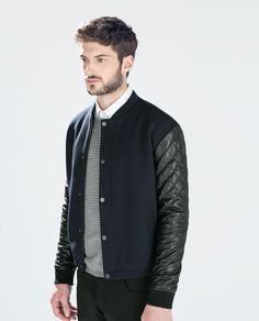 A men's fashion/lifestyle moodboard featuring men's street style looks, beards and various facial hair styles, tattoo art, inspiring street fashion photography, and clothing from the best menswear. Zara Bomber Jacket, Man Jacket, Leather Sleeve Jacket, Zara Man, Street Style, Men Style Tips, Leather Men, Quilted Leather, Real Leather