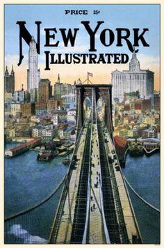New York Illustrated Brooklyn Bridge Masterprint - AllPosters.co.uk