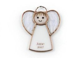 Personalized Gift Ideas For Her - Gift For Sister Ideas- Personalized Angel Ornament - Stained Glass - Christmas Gift Tag Ornament #StainedGlassJewelry