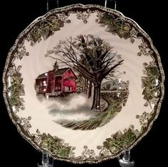 An interesting rustic design is this Friendly Village vegetable bowl. It was made by Johnson Bros. of the United Kingdom. The scene is titled Autumn Mists. The vegetable bowl is free of chips, nicks and cracks. | eBay!