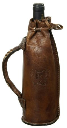 HAND MADE LEATHER WINE BOTTLE PORTER. (Wine Bottle Bag)