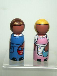 Jack & Jill nursery rhyme waldorf peg doll house miniatures toy collectible