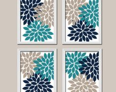 Coral Teal Navy Wall Art CANVAS or Prints Flower by TRMdesign