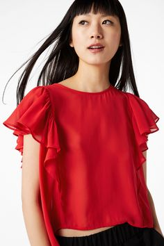 Monki Image 2 of Ruffled blouse in Red