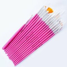 15 x Nail Art Brushes Gel Design Polish Brush Painting Wood Drawing Pen Set, Pink by 100Tech. $5.30. Contain 15 pcs different brushes for different function.. Suitable for professional use or home use.. 100% Brand New.. Length of nail brushes: 13 ~ 20.5 cm. Wood handle.. Set of 15 nail art pens, brushes for design & painting.. Package include: 15Pcs Professional Nail Art Design Brush Set
