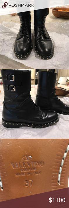Valentino rockstud lace up boots Black calf leather rockstud lace up and buckle Valentino boots Valentino Garavani Shoes Combat & Moto Boots