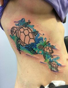 Watercolor sea turtles tattoo by Chris Burke at Serenity Ink Milwaukee, Wi - Imgur