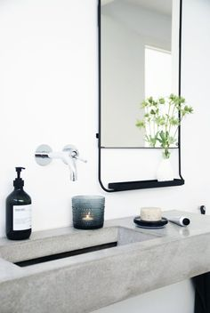 - Sacramento Street Cement sink in a white bathroom. Love the mirror and the metal tray attached to it. Possibilities of display! White Bathroom, Bathroom Interior, Modern Bathroom, Small Bathroom, Bathroom Ideas, Bathroom Mirrors, Bathroom Styling, Bathroom Designs, Remodel Bathroom