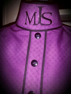 Custom Hunt seat Dickie by Diva Dickies purple puzzle pieces with double piping on collar and custom monogram. Www.divadickies.com
