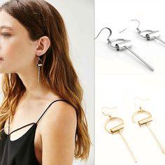2016 New Arrival Fashion Simple Gold Tube Vertical Earrings Vintage Geometry Hoop Tassel Earring Jewelry for Women Gift TD153