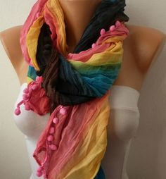 Rainbow Women Shawl Scarf  Headband Necklace Cowl by fatwoman, $13.50