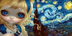 Alice in The Starry Night - Van Gogh - Alice in Wonderland - by Jasmine Becket-Griffith new contemporary art impressionism big eyes - art by Strangeling