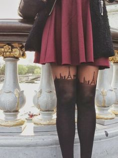 These tights are adorable. It would appear as if the Eiffel Tower covered an area of two square miles if presented by my thighs, but the tights are adorable.
