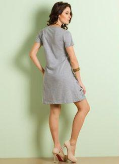 Vestido Manga Curta (Cinza Estampada)