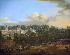 """Wilanów Palace as seen from the entrance by Bernardo Bellotto, 1776 (PD-art/old), Zamek Królewski w Warszawie (ZKW), commissioned by Stanislaus Augustus, after 1771 the palace was owned by King's cousin Izabela Lubomirska """"The Blue Marquise"""""""