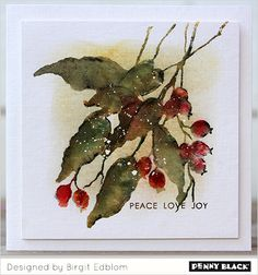 Featuring Penny Black stamps- click through for supplies and instructions Making Greeting Cards, Xmas Cards, Greeting Cards Handmade, Holiday Cards, Penny Black Karten, Penny Black Cards, Watercolor Christmas Cards, Watercolor Cards, Christmas Paintings