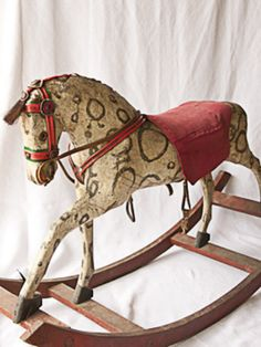 Antique Rocking Horse, And George  Turn of the century 41″L x 14.5″Wx 25″H