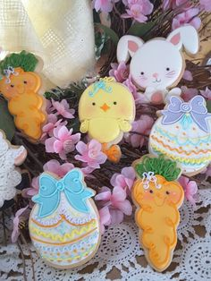 Easter bunnies chicks eggs carrots cookies