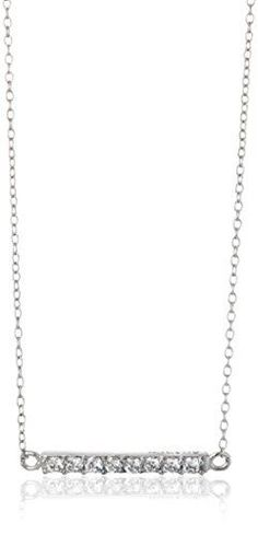 Sterling Silver Cubic Zirconia Horizontal Bar Pendant Necklace 165 2 Extender * See this great product.