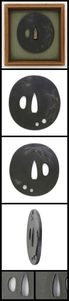 Edo Incects (dragon fly, butterfly, moth and mantis) are engraved on round shape iron Tsuba