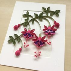 """Title: """"FUCHSIA'S IN BLOOM"""" 8x10"""" (20cmx26cm)  Quilling, hand crafted paper artwork by Jan and Shannon. For custom orders please contact us at quilling_in_harmony@hotmail.com"""