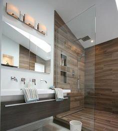 Une salle de bain zen et actuelle | Style France Arcand | CASA Ensuite Bathrooms, Master Bathroom, Home Management, Attic Rooms, Bath Design, Bathroom Inspiration, Sweet Home, New Homes, House Design