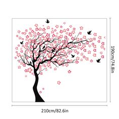 Large Wall Tree Baby Nursery Flower Cherry Blossom Sticker Kids Vinyl Art US Cherry Blossom Bedroom, Pink Cherry Blossom Tree, Blossom Trees, Wall Stickers Room, Wall Decal, Vinyl Art, Sticker Vinyl, Flower Nursery, Bird Tree