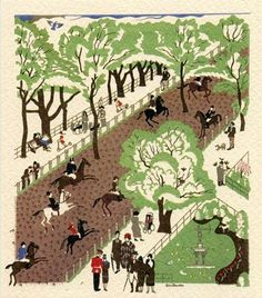 Hyde Park (Design for London Underground) by Edward Bawden.  The accompanying text was Johnston Sans, first made the iconic typeface of the underground in 1916