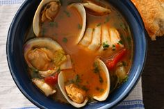 Fish Stew ~  Traditionally this style of soup is served with a dollop of aioli that's stirred in to add a punch of garlic and eggy richness. To keep it light, you can omit the aioli.