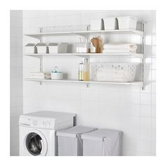 IKEA - ALGOT, Wall upright/shelves, white, The parts in the ALGOT series can be combined in many different ways and easily adapted to your needs and space. Can also be used in bathrooms and other damp indoor areas. Only for indoor use. Bathroom Shelf Unit, Laundry Room Shelves, Laundry Room Cabinets, Laundry Room Design, Ikea Laundry, Laundry Closet, Small Laundry, Ikea Algot, At Home Furniture Store
