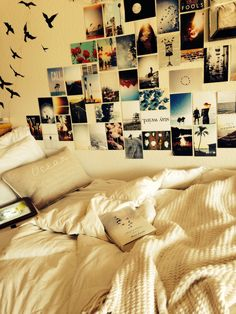Cute and cozy college dorm room. Love the pictures on the wall!