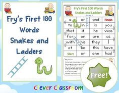 Free download - FREE Fry's First 100 Words Snakes and Ladders Games x 6 - PDF file6 pages designed by Clever Classroom.These six, fun snakes and ladders games are a fun way for young children to learn new words.Each game has a different set of Fry's first 100 words.2-6 children can play each game.Instructions are provided.***  Please leave us feedback by refreshing the page.  ***You might also like our:  Sight Word NEVER ENDING BUNDLE Bottle Cap Center Games for any Word List BUNDLE 30…